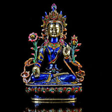 Collectable Brass Cloisonne Hand Carved A Buddism Godness Guanyin Statue D698