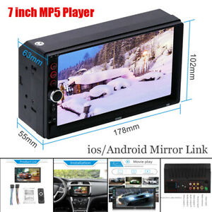 "7"" Double Din Touch Universal Car Radio MP5 Player Bluetooth USB for iOS/Android"