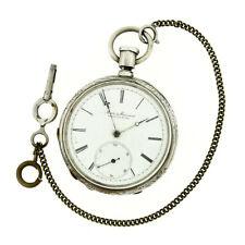 Antique Swiss Matile & Mosimann Open Face Key Wind Pocket Watch Coin Silver Case