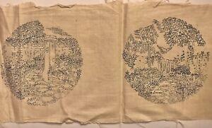 Vintage pre-transferred embroidery fabric garden scenes (Q951)