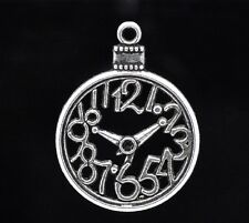 2 x Tibetan Silver Pocket Watch Charms Pendant Rabbit Alice in Wonderland Clock