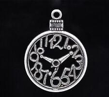 2 x Tibétain Argent Montre De Poche Charms Pendentif lapin alice au pays des merveilles horloge