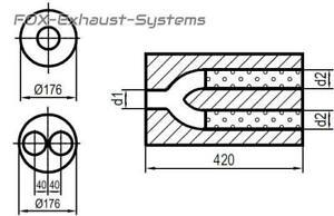 Univers. Marmitta Inox Rotondo 176mm Tubo Y L:420mm IN/Out 1x45/2x45mm