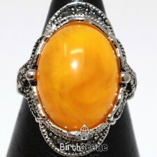 Vintage 7 Ct Yellow Oval Amber Band Ring Woman Antique Jewelry Gift