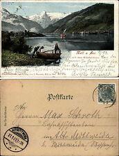 ZELL am SEE Österreich Litho-AK 1902 Alpen Männer mit Boot (nach Altmittweida)