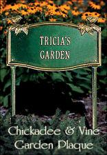 Whitehall Chickadee & Vine Garden Plaque Sign + Garden Mount - 4 Color Choices
