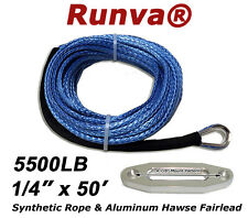 """New Runva Synthetic Winch Rope 1/4"""" X 50ft Rated 5500lb W/ 4-7/8"""" Aluminum Hawse"""
