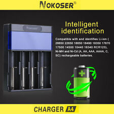Nokoser 4 Slot LCD Intelligent Smart Battery Charger Rechargeable Ni-MH/ Ni-Cd