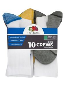 Boys Fruit Of The Loom Crew Socks, 10 Pack Multicolor Size M(9-2.5)
