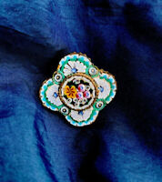 Vintage Micro Mosaic Pin Brooch Intricate Design Gold Toned Beaded Setting