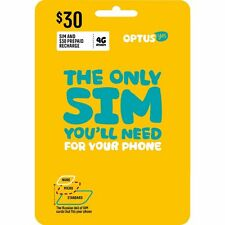 AUSTRALIAN OPTUS PREPAID MOBILE 4G SIM CARD $30 PACK ALL SIZES IPHONE XS XR X 8