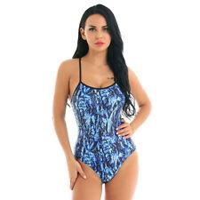Womens One Piece Swimsuit Padded Swimwear Printed Racer Back Bathing Suit Bikini