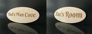 Personalised Name Room Plaque Plywood Bedroom Playroom Bathroom Shed Custom Ply