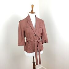 Anthropologie Cartonnier Mauve Button Waist Tie Blazer Career Size 4