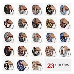 Men Women Canvas Cotton Elastic Woven Leather Pin Buckle Waist Belt 23 Colour UK