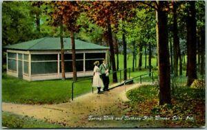 "1910s Winona Lake, Indiana Postcard ""Spring Walk in Bethany Hall"" Park Scene"