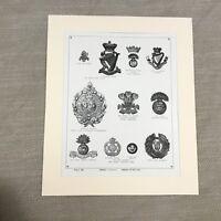 1900 Royal Irish Rifles Fusiliers Badge British Military Original Antique Print