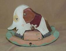 Vintage 1981 Enesco Wooden Wind Up Musical Rocking Elephant Toy Signed