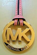 Michael Kors MK Logo Gold Charm / peach Pink Saffiano Leather Handbag Tag Fob