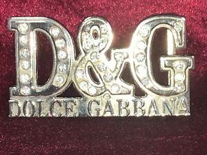 D&G Dolce Gabbana Diamond Bling Silver Chrome Belt Buckle - VGC