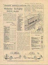 Wolseley  6/80 Six-Eighty 1949-50 Models Motor Trader Service Data No. 173 1950