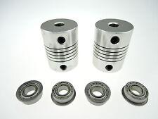 4x MF105ZZ Bearing + 2x CNC Motor Shaft Coupler Coupling for 3D Drucker Prusa i3