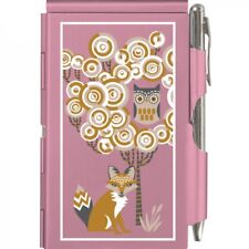 #8056 -- WELLSPRING PINK GOLD OWL AND FOX ALUMINUM FLIP NOTE CASE PAD WITH PEN