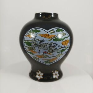 "FRANKLIN MINT Black Crane / Bird Mini Porcelain Bud Vase - vtg 1980 3"" Small"