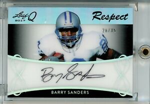 2017 Leaf Q Respect On-Card Auto #R-BS1 Barry Sanders #26/35 Detroit Lions