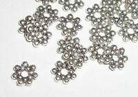 Antique silver plated pewter 6x1mm rondelle shaped spacer beads 100 pc (MB8948)