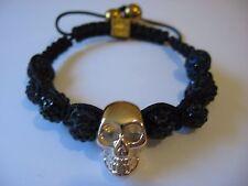 Steampunk gold skull shamballa style bracelet, costume jewellery, hematite, boho
