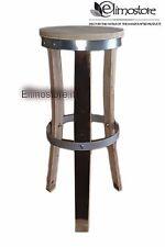 SGABELLO bar  legno doghe botte 60 CM barriques CON CERCHIO IN FERRO DA 6 MM