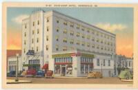 Gainesville GA Dixie Hunt Hotel Drug Store Coca Cola '40s Linen Postcard  26149