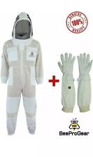 Unisex 3Layer Beekeeping Ventilated Full Suit & Astronaut Veil +Free Gloves 2XL