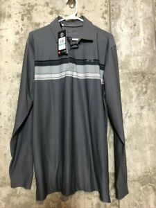 Mens Under Armour Gray Long Sleeved Polo LArge Tall NWT