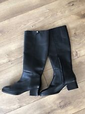JCrew $298 Leather Knee Boots Sz 6.5 Black F6135 Block Heels Shoes WInter NEW