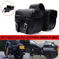 Universal PU Leather Motorcycle Saddlebag Side Luggage Pannier Tool Storage Bag