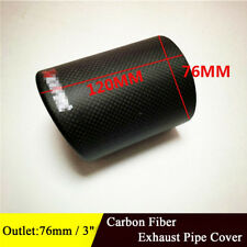 Car Carbon Fiber Exhaust Cover Tails Rear Silencer Tip Pipe End 76mm / 3 Inch