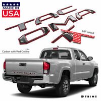 Carbon w. Red Outline Domed Raised Letters fits Toyota Tacoma 2016-2020 Tailgate