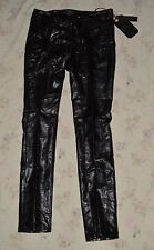 ZANA DI ZANADI JEANS PLEATHER (LEATHER LOOKING) BLACK PANTS JEANS SIZE 7 - NWT