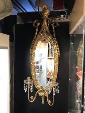 Vintage Mcm Hollywood Regency Gilt Oval Italian Two Light Wall Mirror Sconce