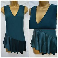 NEW PER UNA M&S VEST TOP CAMI TUNIC TEAL PETROL SATIN PARTY ASYMMETRICAL 8 - 22