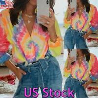 US Womens Long Sleeve Tie Dye T Shirt Loose Ladies V Neck Blouse Baggy Tops Tee