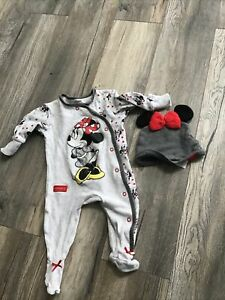 Baby Girl Minnie Mouse Babygrow & Hat Set 3-6 Months