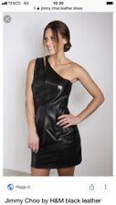 JIMMY CHOO FOR H&M BLACK LEATHER ONE SHOULDER DRESS SIZE US 6 Uk8 Excellent Cond