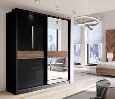Brand New Modern Bedroom Sliding Mirror Wardrobe Arti 16 Black Gloss 200cm LED
