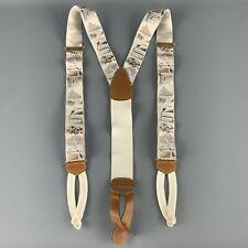 TRAFALGAR Grey Silk Tennis Match Print Ribbon Suspenders
