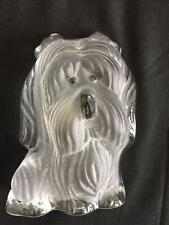 "Viking frosted art glass Silky Terrier of Yorkie dog with label 4.5"" paperweight"