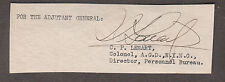 c WWII cut signature Colonel C.P. Lenart AGD NYNG Director Personnel Bureau