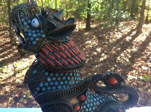 Chinese Tibetan Turquoise And Coral Filigree Foo Dog